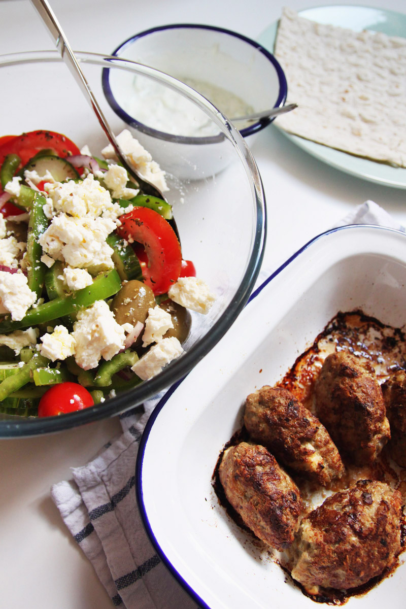 Greek Style Lamb Kofta with Greek Salad Recipe