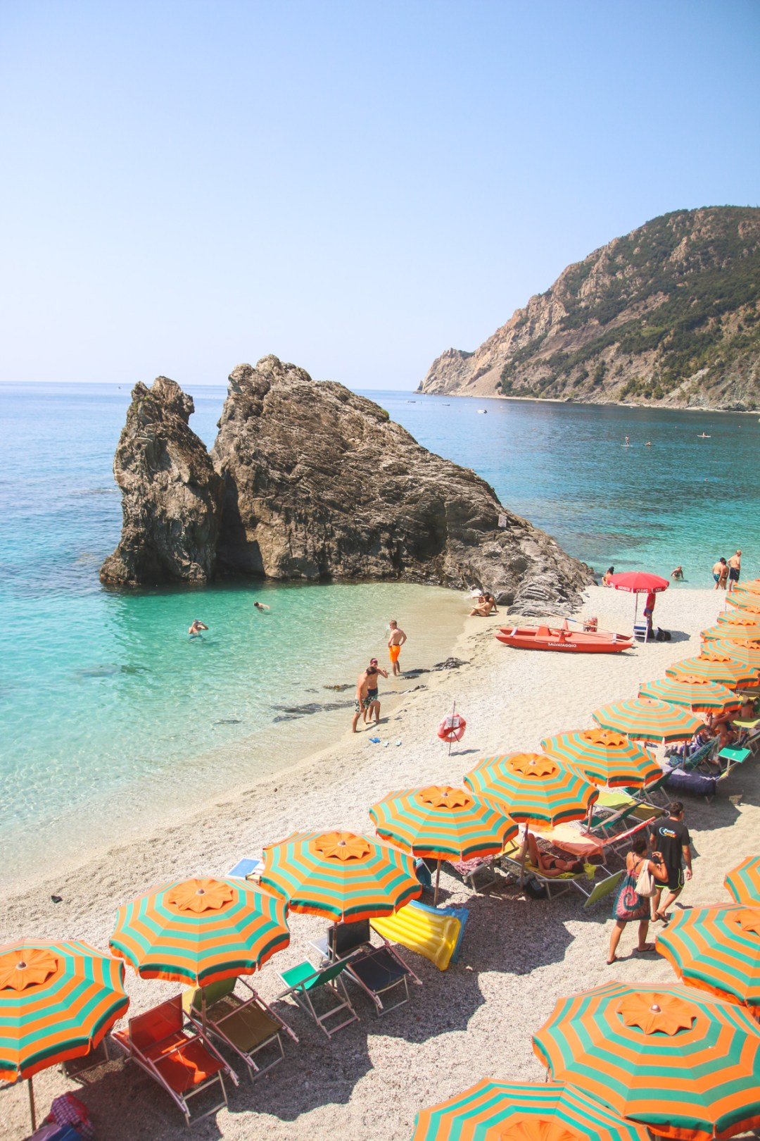 The Beach in Monterosso al Mare in Cinque Terre, Liguria, Italy
