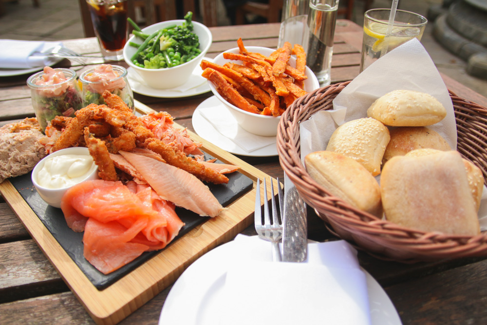 Fish Platter at The Swan Hotel and Restaurant, Bibury, The Cotswolds
