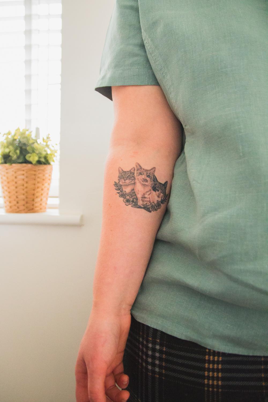 Three Cat Tattoo on Forearm