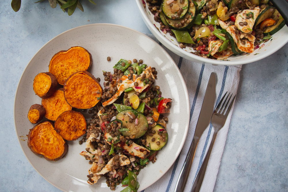 Summer Courgette, Lentil & Halloumi Salad, served with Roasted Sweet Potato Circles