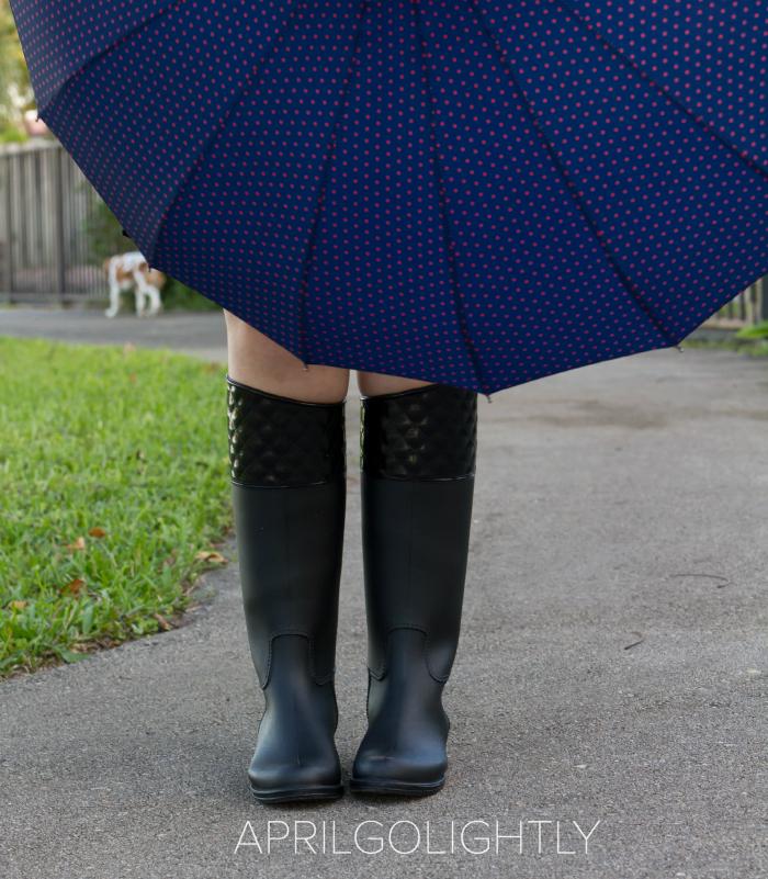 Stylish Rain Boots and umbrella