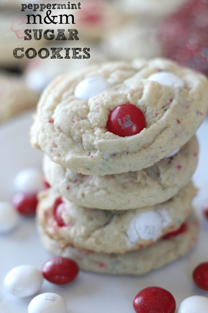 Peppermint M&Ms Sugar Cookies
