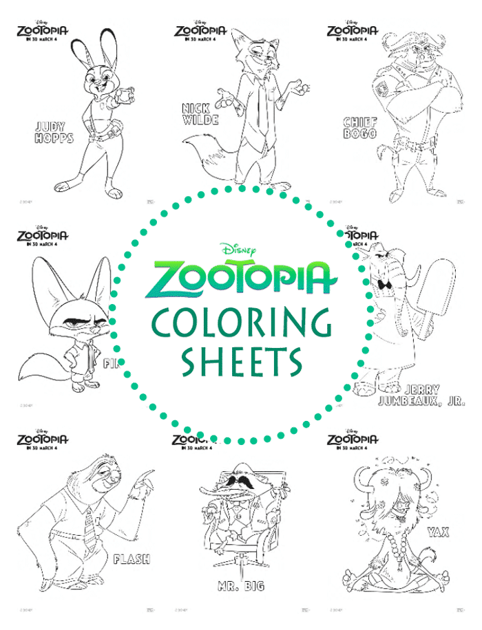 Zootopia Coloring Sheets April Golightly