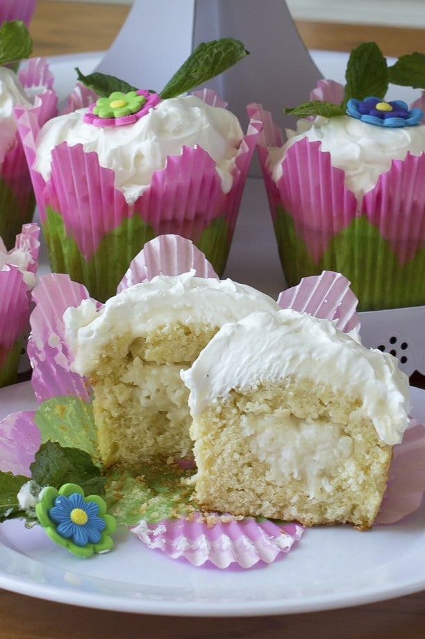 Coconut Surprise KeyLime Cupcakes Recipe for spring with flowers on top