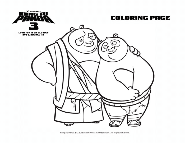 Kung Fu Panda 3 Coloring Sheets Free Printables Po And Dad