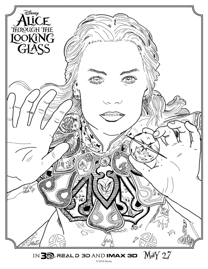 Alice Through the Looking Glass Coloring Sheets - April ...