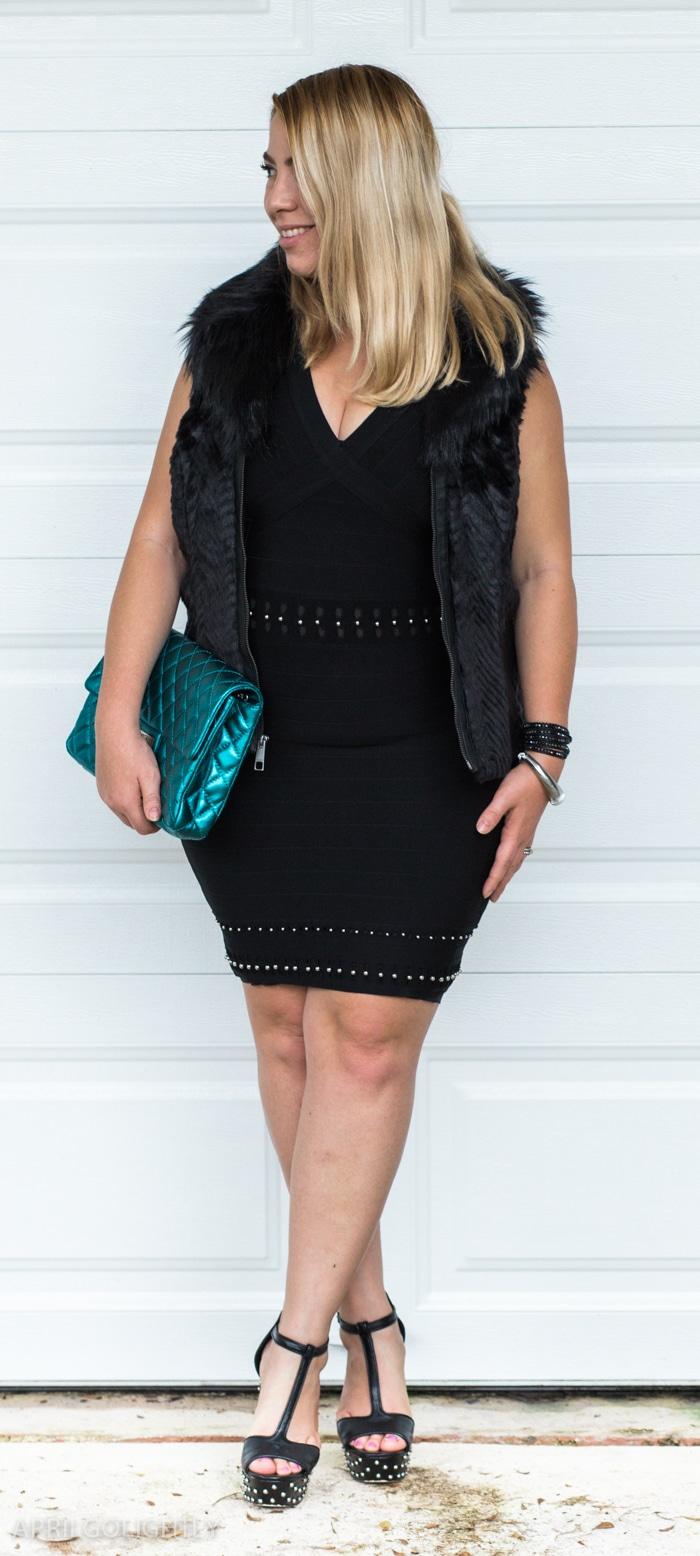 Boca Raton Night Out Outfit - Herve Leger bandage dress, Valentino Rockstud Pumps, Quilted Flap Chanel Bag, Faux Fur Vest
