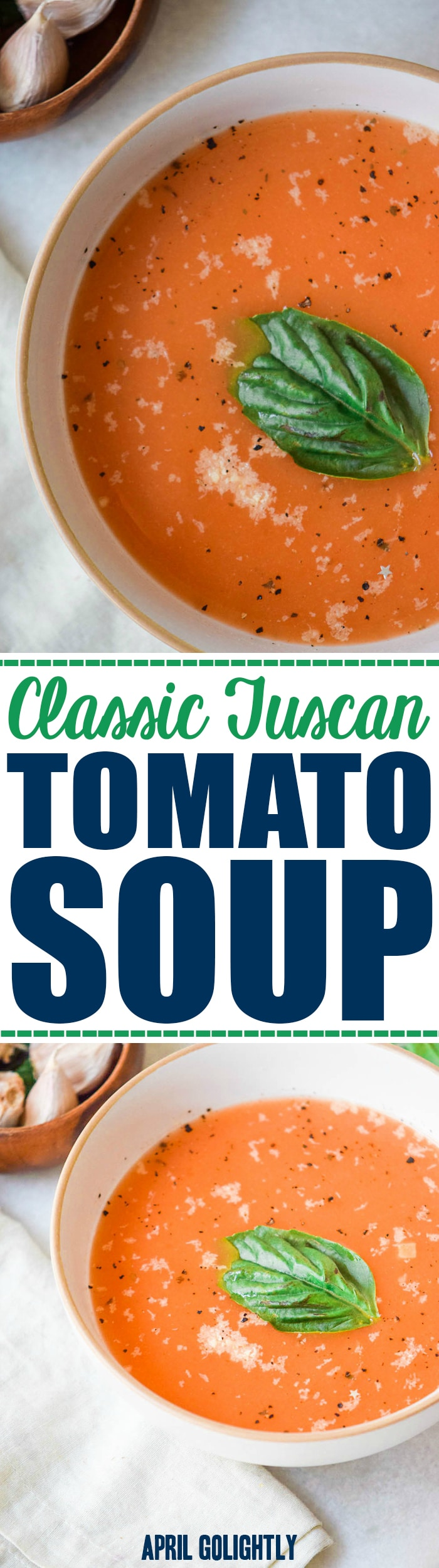 Classic Tuscan Tomato Soup Recipe made in one pot with veggies made vegan if you skip the cheese garnish on top