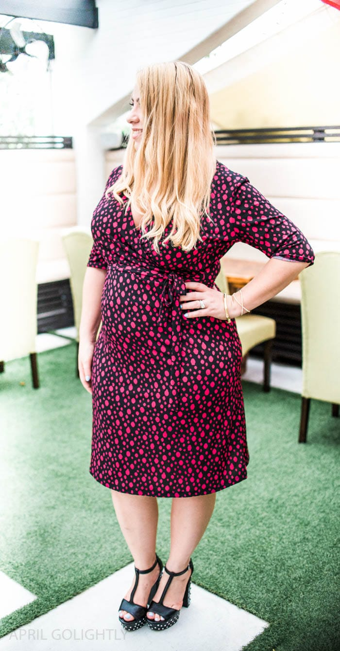 How to Wear a Wrap Dress Outfit to show off your body shape & style. The faux wrap dress (from Stitch Fix box) that is easy to wear for an evening out or to work with a blazer or cardigan