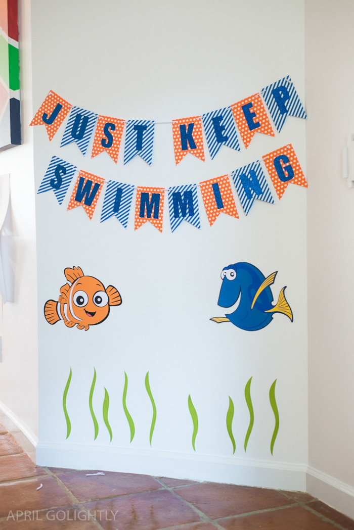 Dory Birthday Party Ideas with Dory Created Cricut printed photo booth