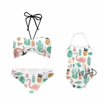 Flamingo Print Mommy and me swimsuits