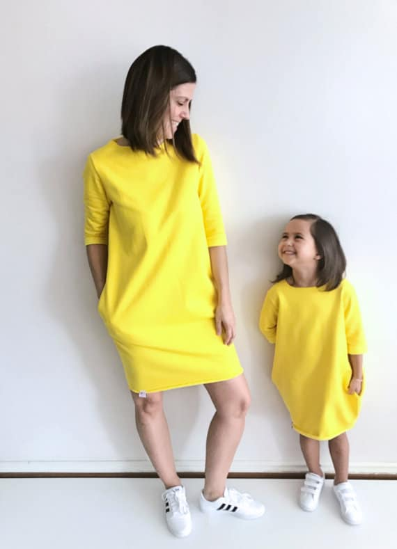 Yellow Sweatshirt dress