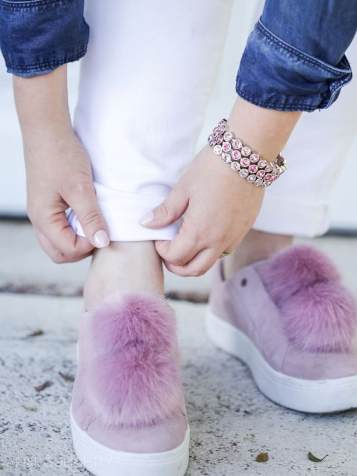 Pom Pom sneakers pink mauve from Sam Edelman worn with Chambray top and white jeans for spring outfit with touchstone swarovski ice bracelets