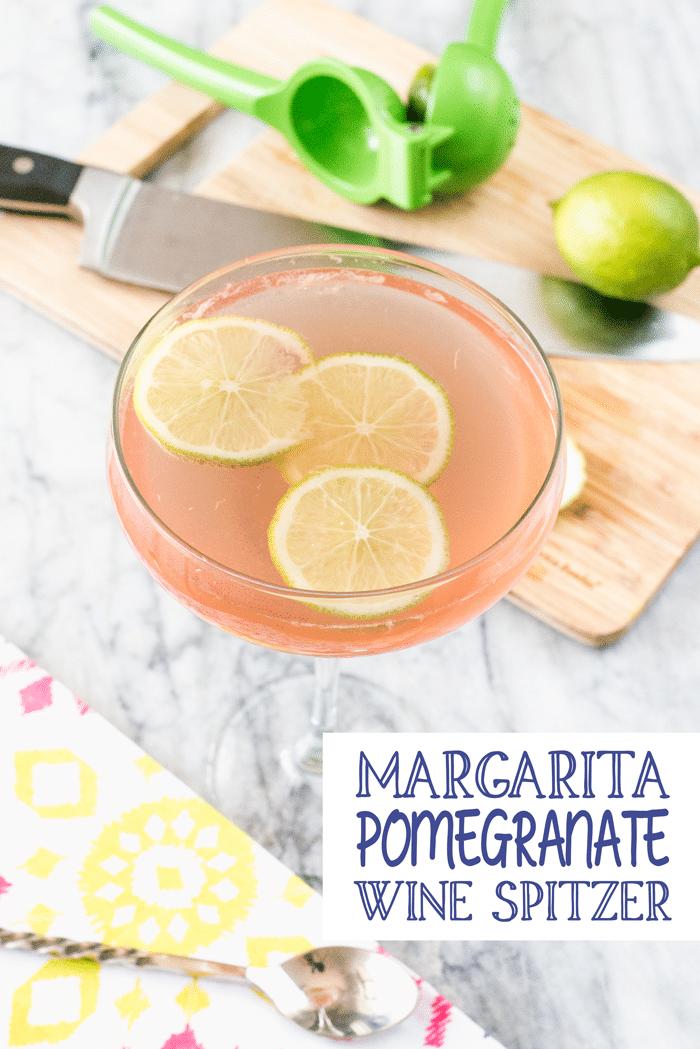 Pomegranate Margarita Wine Spritzer - delicious margarita wine spritzer with pomegranate liquor, fresh lime juice, club soda, sauvignon blanc white wine