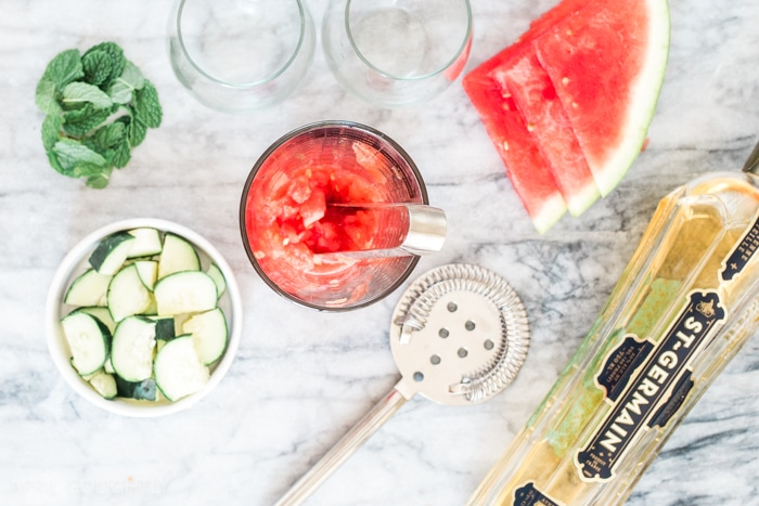 Watermelon Vodka Cocktail Recipe made with St Germain and Cucumber Vodka