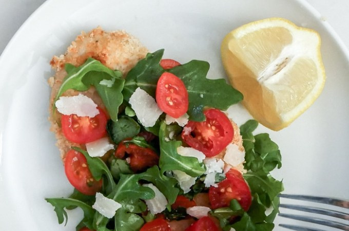 Baked Chicken Milanese with Arugula & Almond Flour