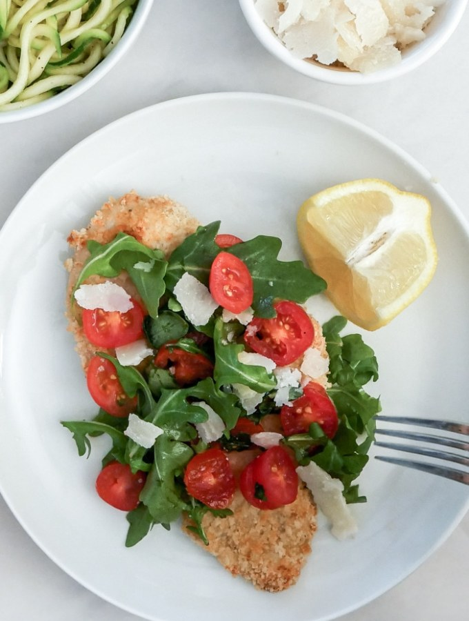 Baked Chicken Milanese with Arugula and Almond Flour