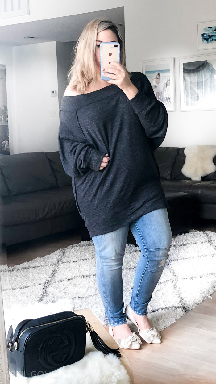 Winter Fashion for Women with high waisted skinny jeans and off the shoulder free people top