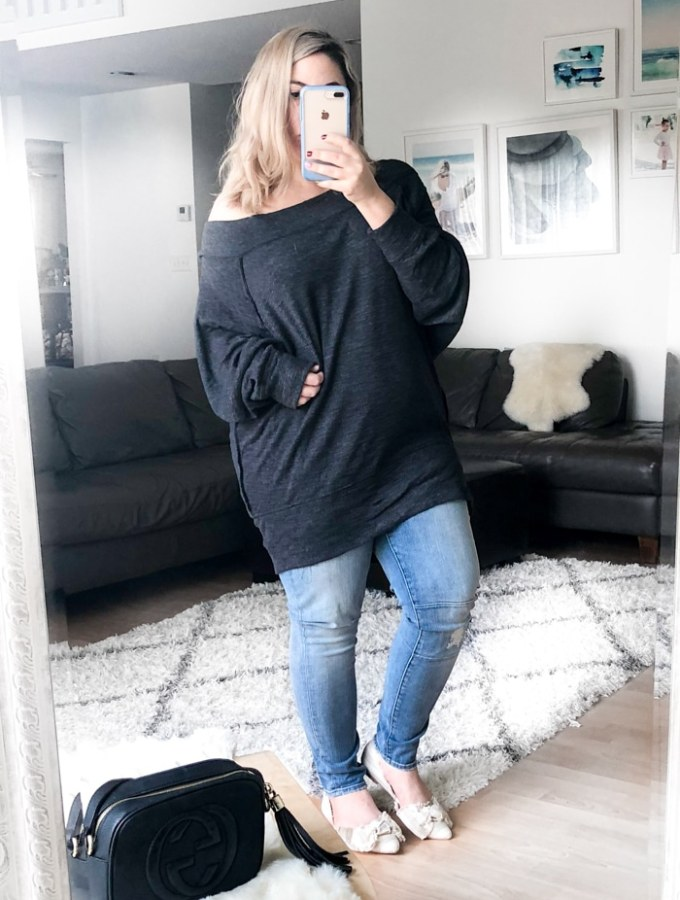 Winter Fashion for Women with high waisted skinny jeans and off the shoulder free people top (1 of 1)