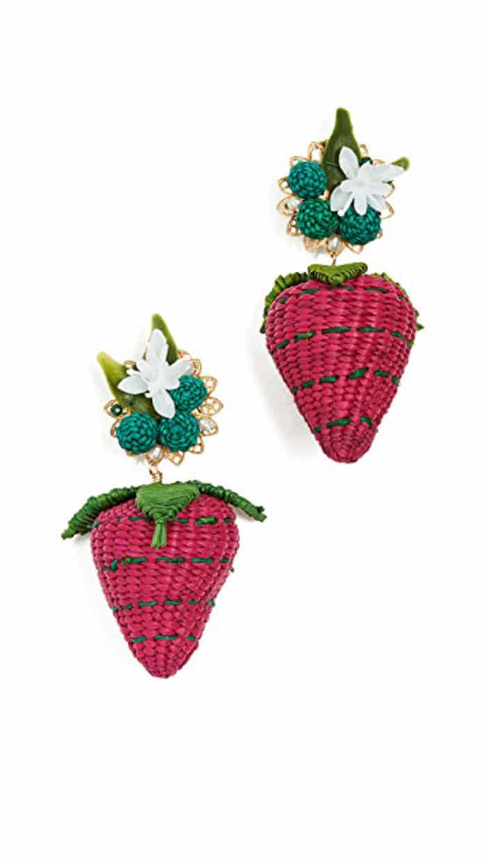 Woven Strawberry Earrings for Spring