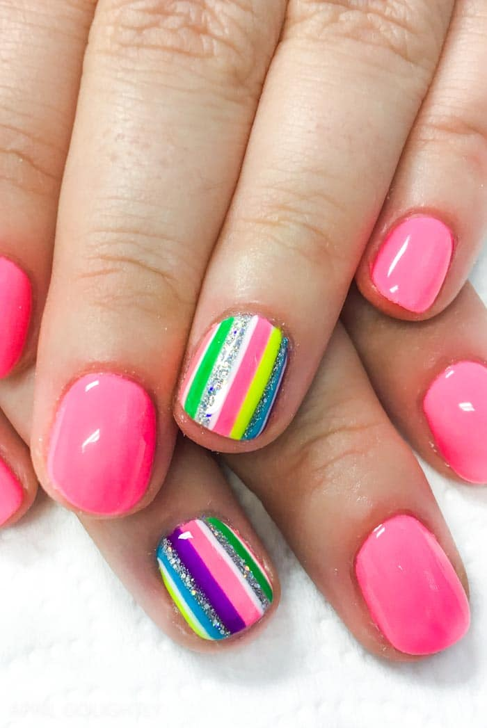 Hot Pink stripe nails