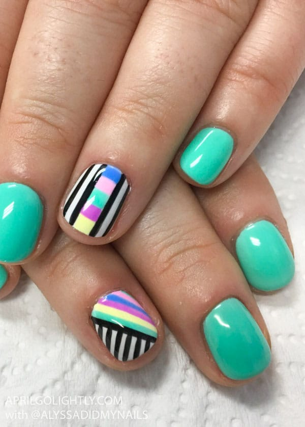 Rainbow Nail Art Designs with black and white stripes