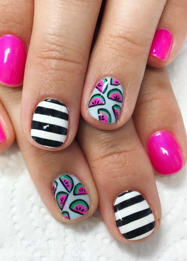 Watermelon Nail Art Designs for Summer