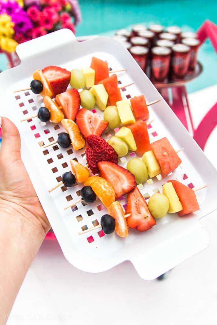 Pool Party Rainbow Fruit Skewers