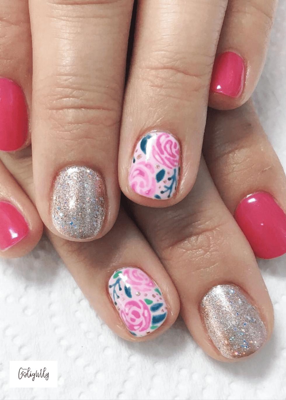 Fall Nail Art Roses