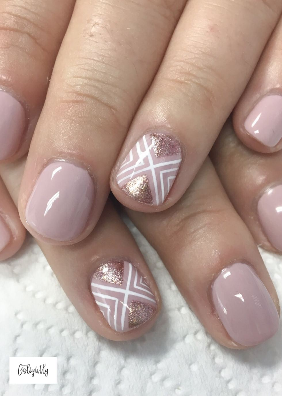 Rose Gold Nails with blush for fall nails
