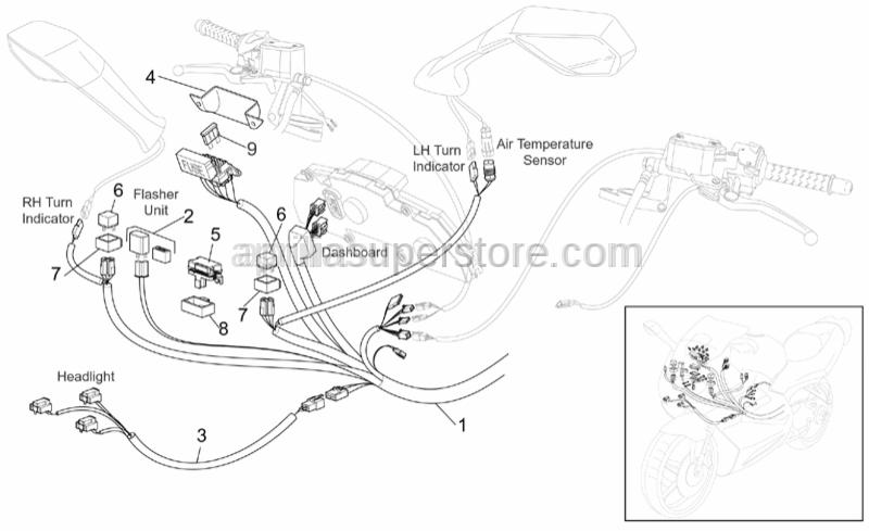 Headlight wiring w/harness