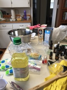 soapmaking during creative retreat