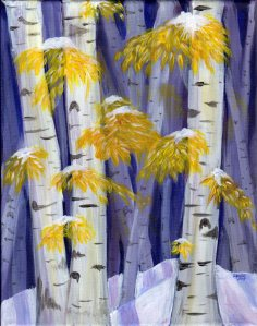 "Silver and Gold, acrylic on canvas, 11x14"", Birch Trees"