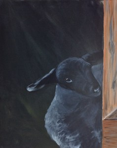 "The Flirt, acrylic, 16x20"", lamb and barn"