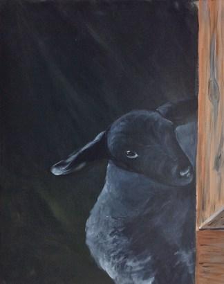 "The Flirt, acrylic, 16x20"", lamb and barn"