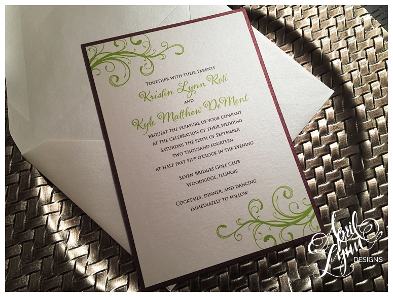 Kristin  Kyles Wedding Invitation Suite  April Lynn Designs  Custom Stationery  Design