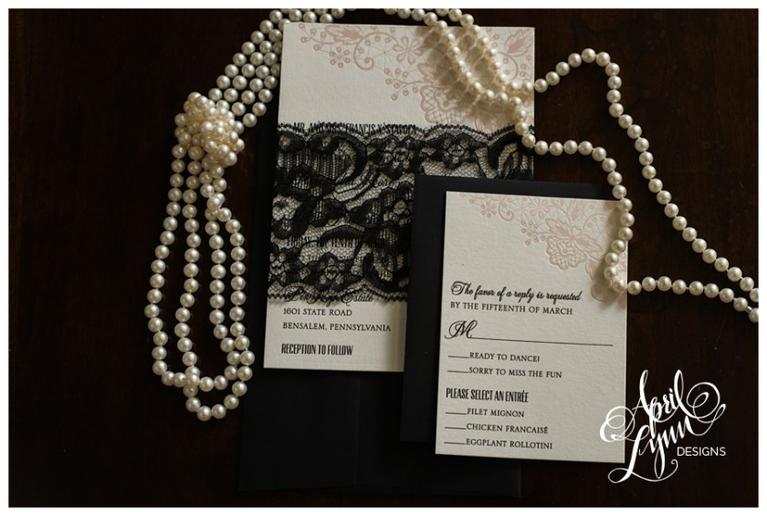 Pink Black Lace Custom Wedding Invitations By April Lynn Designs