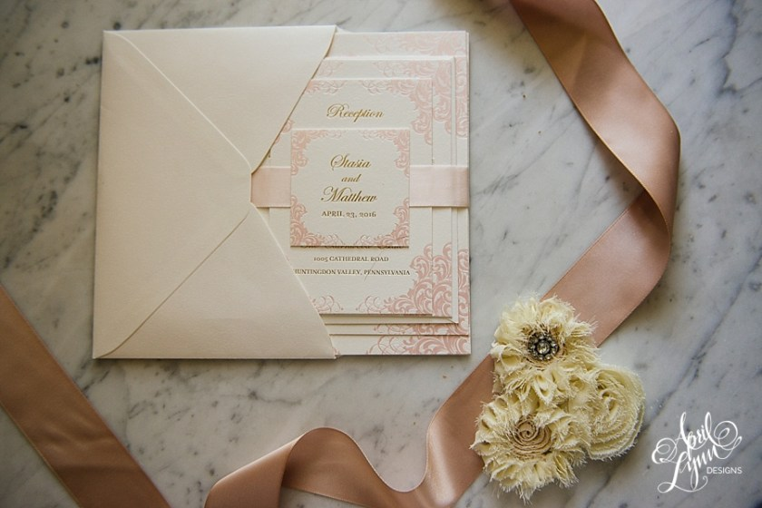 Stasia Matt S Gold And Pink Foil Luxe Wedding Invitation Suite