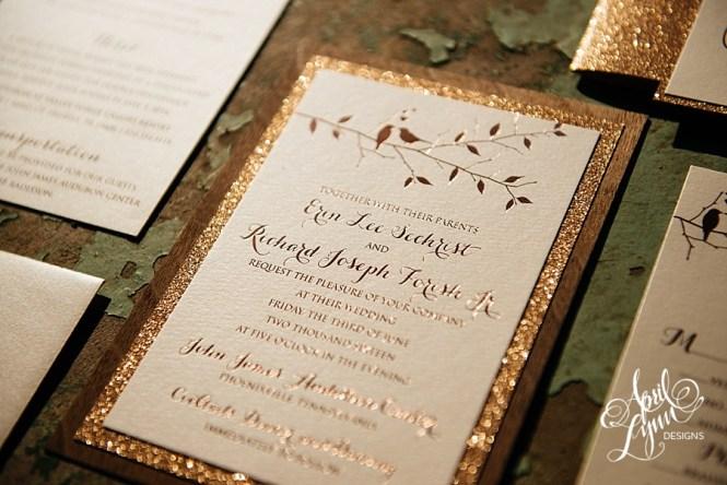 Wedding Invitation Luxury Pocketfold Elegant Formal Rose Gold Glitter