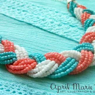 Blue and Coral Braided Necklace Detail