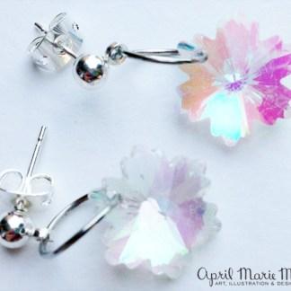 Iridescent Snowflake Flower Earrings