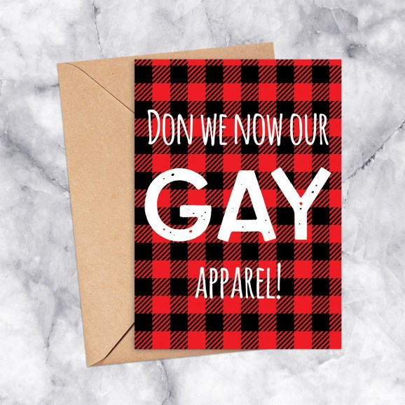 Don We Now Our Gay Apparel Plaid Printable Greeting Card