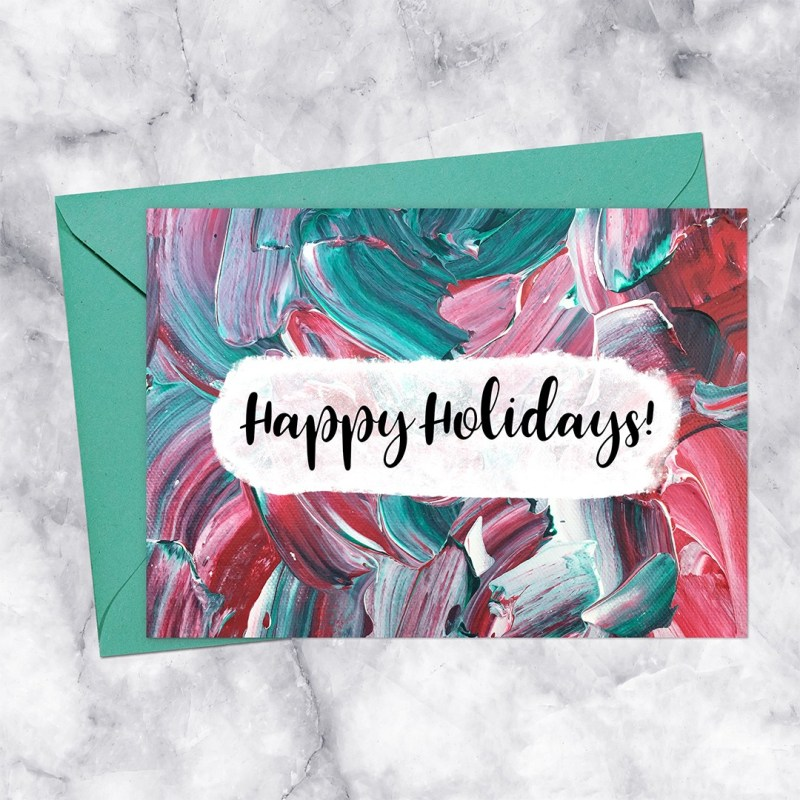 Happy Holidays Red & Green Paint Printable Greeting Card