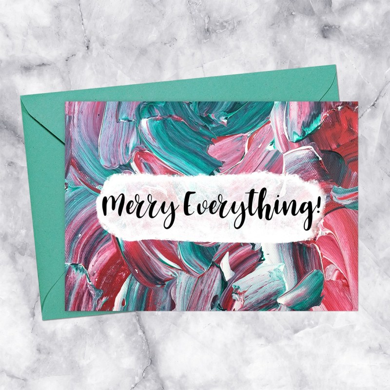 Merry Everything Red & Green Paint Printable Card