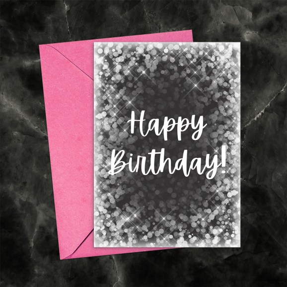 Happy Birthday Printable Greeting Card Bokeh Black & White