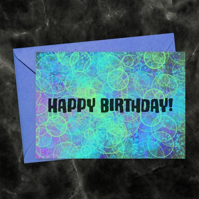 Happy Birthday Bokeh Bubbles Printable Card