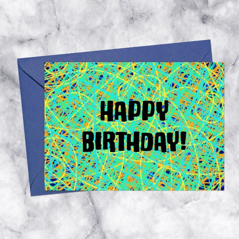 Happy Birthday Crosshatching Lines Printable Greeting Card