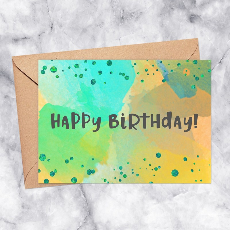 Happy Birthday Printable Greeting Card Watercolor with Confetti in Green, Seafoam & Orange