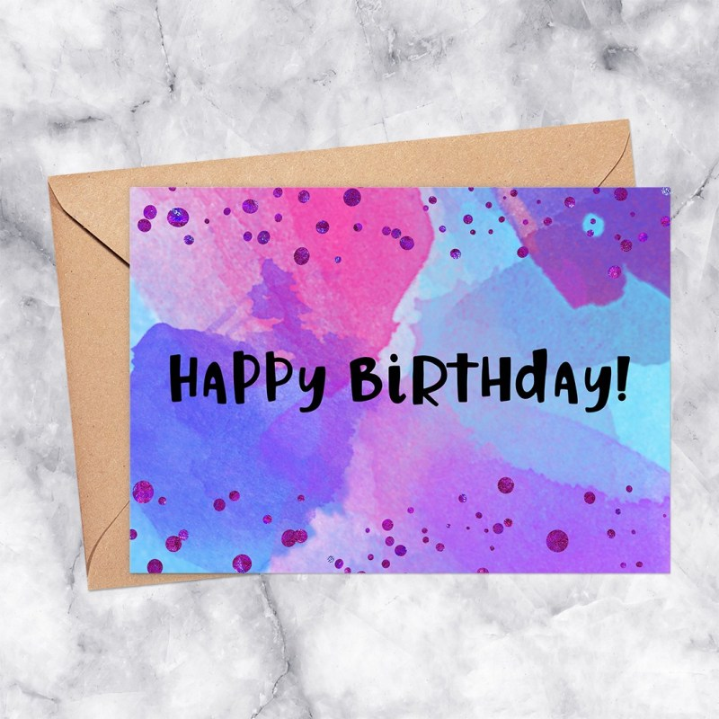 Happy Birthday Printable Greeting Card Watercolor with Confetti in Purple, Blue & Pink